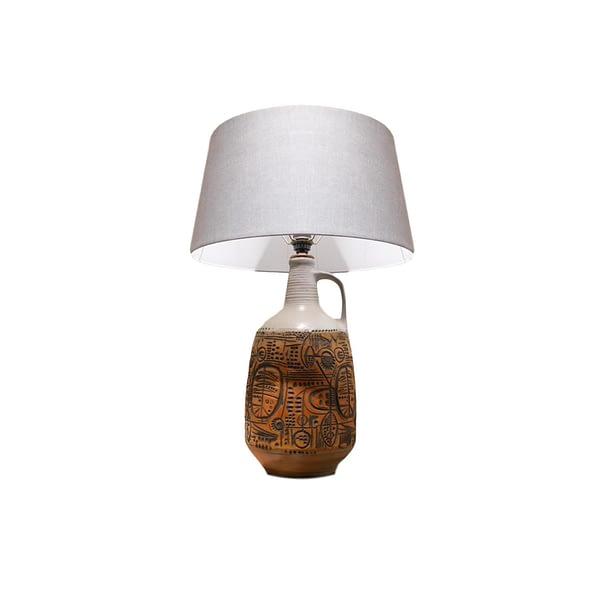 XL Lampe de Table Brutaliste en Céramique, 1970s